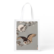 Scops Owl Antique Japanese Wood print artwork Grocery Bag