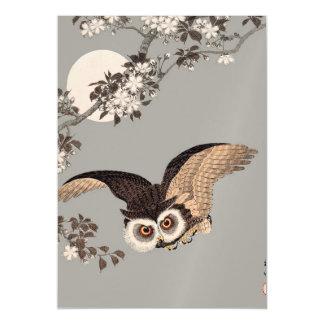 Scops Owl Antique Japanese Wood print artwork Magnetic Card