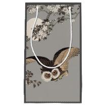Scops Owl Antique Japanese Wood print artwork Small Gift Bag