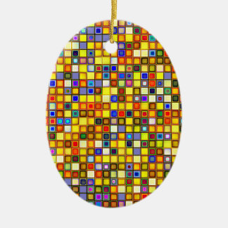 Scorching Yellow And Cool Blue Tiles Pattern Ceramic Ornament