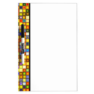 Scorching Yellow And Cool Blue Tiles Pattern Dry-Erase Board