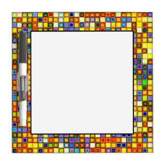Scorching Yellow And Cool Blue Tiles Pattern Dry Erase Board
