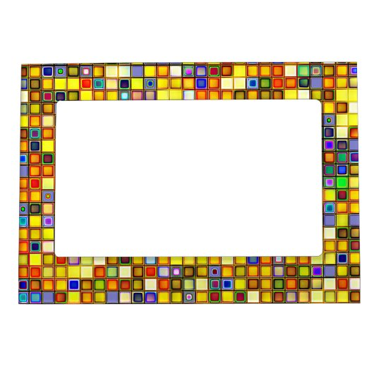 Scorching Yellow And Cool Blue Tiles Pattern Magnetic Frame