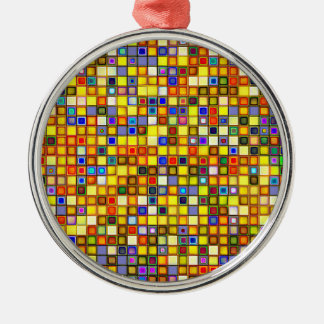 Scorching Yellow And Cool Blue Tiles Pattern Metal Ornament