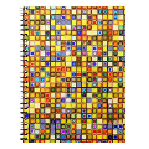 Scorching Yellow And Cool Blue Tiles Pattern Spiral Note Books