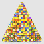 Scorching Yellow And Cool Blue Tiles Pattern Triangle Sticker