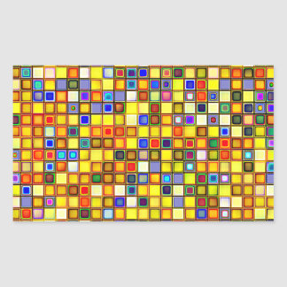 Scorching Yellow And Cool Blue Tiles Pattern Rectangular Sticker