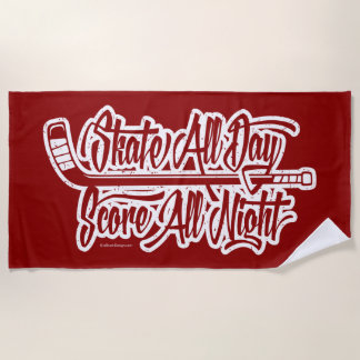 Score All Night (hockey) Beach Towel