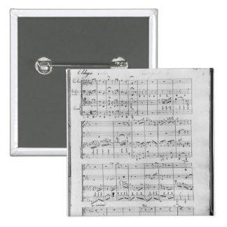 Score for trio for piano, violin and violoncello pinback button