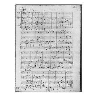 Score for trio for piano, violin and violoncello postcard