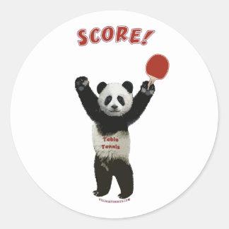 Score Panda Ping Pong Round Sticker