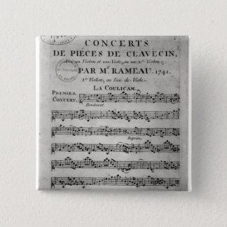Score sheet for 'Concerts de Pieces de Pinback Button