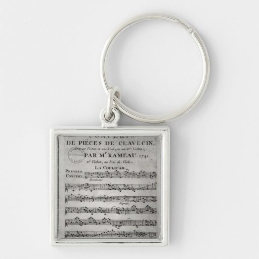 Score sheet for 'Concerts de Pieces de Silver-Colored Square Keychain