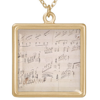 Score sheet of 'Moonlight Sonata' Gold Plated Necklace