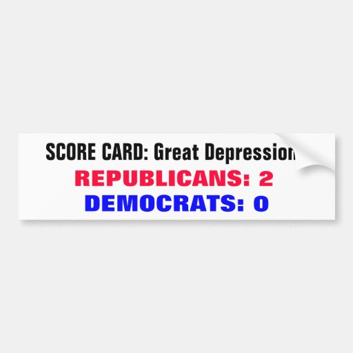 Scorecard Great Depressions Bumper Stickers