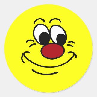 Scornful Smiley Face Grumpey Classic Round Sticker