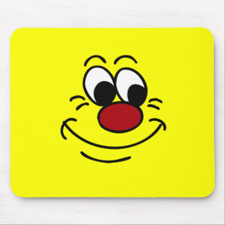 Scornful Smiley Face Grumpey Mouse Pads