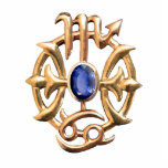 """Scorpio and Pisces Medallion Keychain<br><div class=""""desc"""">Acrylic photo sculpture keychain of gold Scorpio and Pisces astrological signs with a center sparkling blue sapphire. See matching acrylic photo sculpture pin,  necklace and wrist watch. See the entire Gemstones &amp; Medallions Keychain collection in the ACCESSORIES section.</div>"""