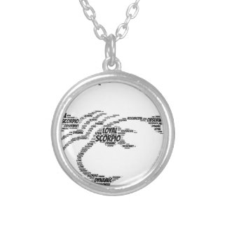Scorpio Astrology Zodiac Sign Word Cloud Silver Plated Necklace