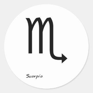 Scorpio B&W Round Sticker