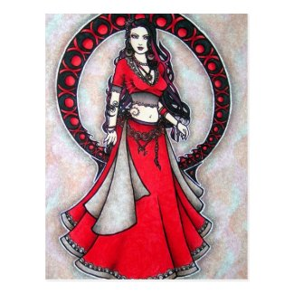Scorpio Belly Dancer Gothic Moon Postcard