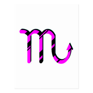 Scorpio Black and Pink with Symbol Postcard