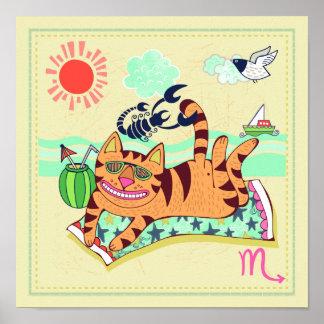 Scorpio Cat Zodiac Nursery Print