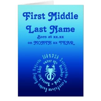 Scorpio Characteristics Personalise New Born Baby card