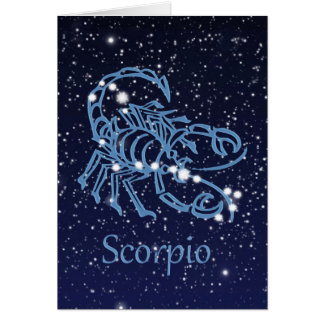 Scorpio Constellation and Zodiac Sign with Stars Card