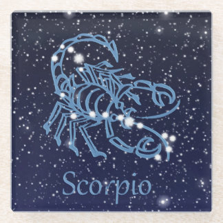 Scorpio Constellation and Zodiac Sign with Stars Glass Coaster