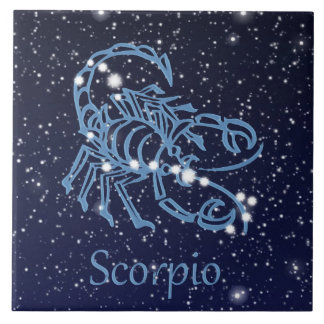 Scorpio Constellation and Zodiac Sign with Stars Tile