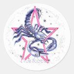 Scorpio Distressed Round Stickers