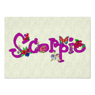 "Scorpio Flowers 5"" X 7"" Invitation Card"