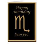 Scorpio Gold Symbol Black Birthday Greeting Card