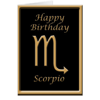 Scorpio Gold Symbol Black Birthday Greeting Card