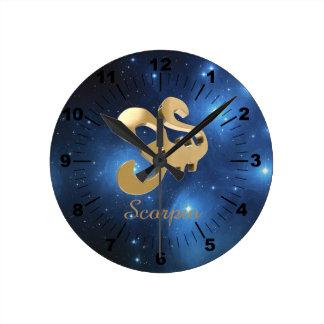 Scorpio golden sign round clock
