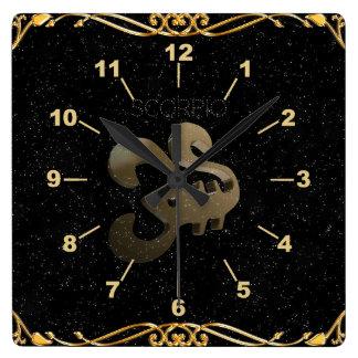 Scorpio golden sign square wall clock
