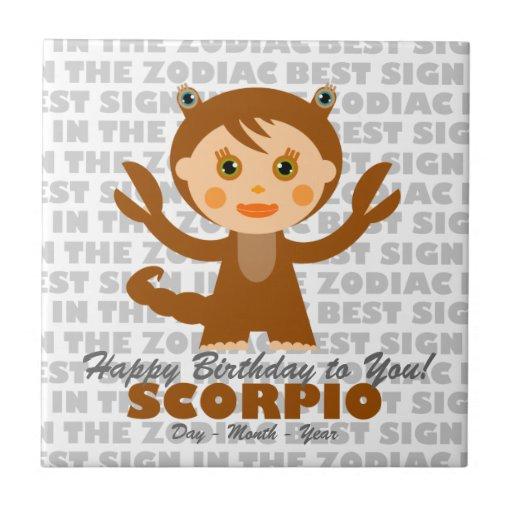 Scorpio Happy Birthday Tile