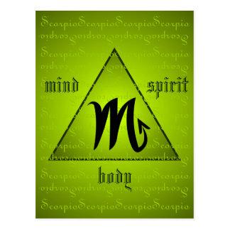 Scorpio Holistic Triangle Mind Body Spirit Green Postcard