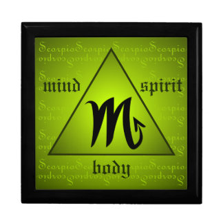 Scorpio Horoscope Mind Body Spirit Triangle Green Keepsake Box