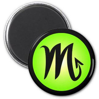 Scorpio Horoscope Sign Sunny Green Circle Design 2 Inch Round Magnet