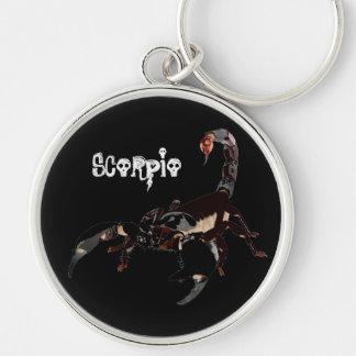 Scorpio key supporter Silver-Colored round keychain