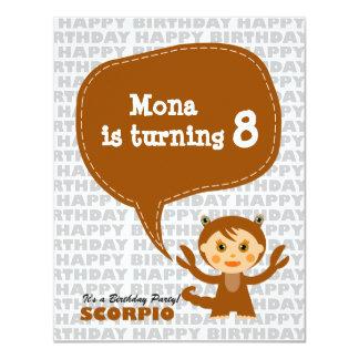 """Scorpio Kids Party Invitation 4.25"""" X 5.5"""" Invitation Card"""