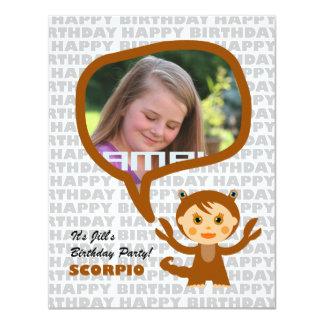 "Scorpio Kids Party Invitation with photo 4.25"" X 5.5"" Invitation Card"