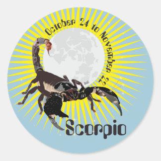 Scorpio October 24 to de los noviembre de 22 borda Pegatina Redonda