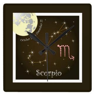 Scorpio October 24 tons November 22 o'clock Square Wall Clock