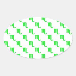 Scorpio Pattern Green Oval Sticker