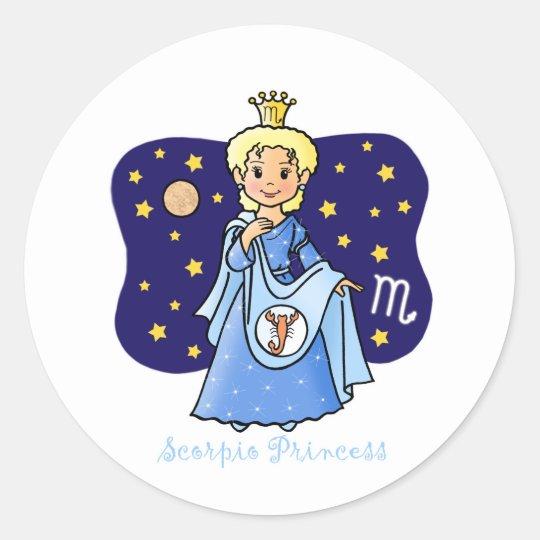 Scorpio Princess Classic Round Sticker