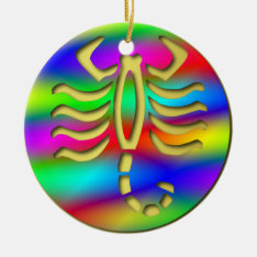 Scorpio Rainbow Scorpion Birthday Christmas Tree Ceramic Ornament at Zazzle