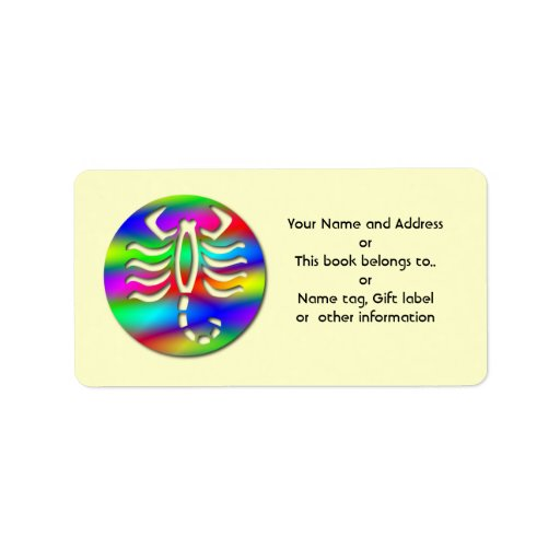 Scorpio Rainbow Zodiac Scorpion Name Tag Gift Tag Personalized Address Label